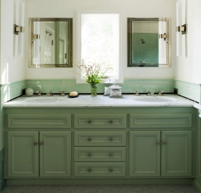 Interior design trends bathroom cabinets corinne gail for Green painted bathroom ideas