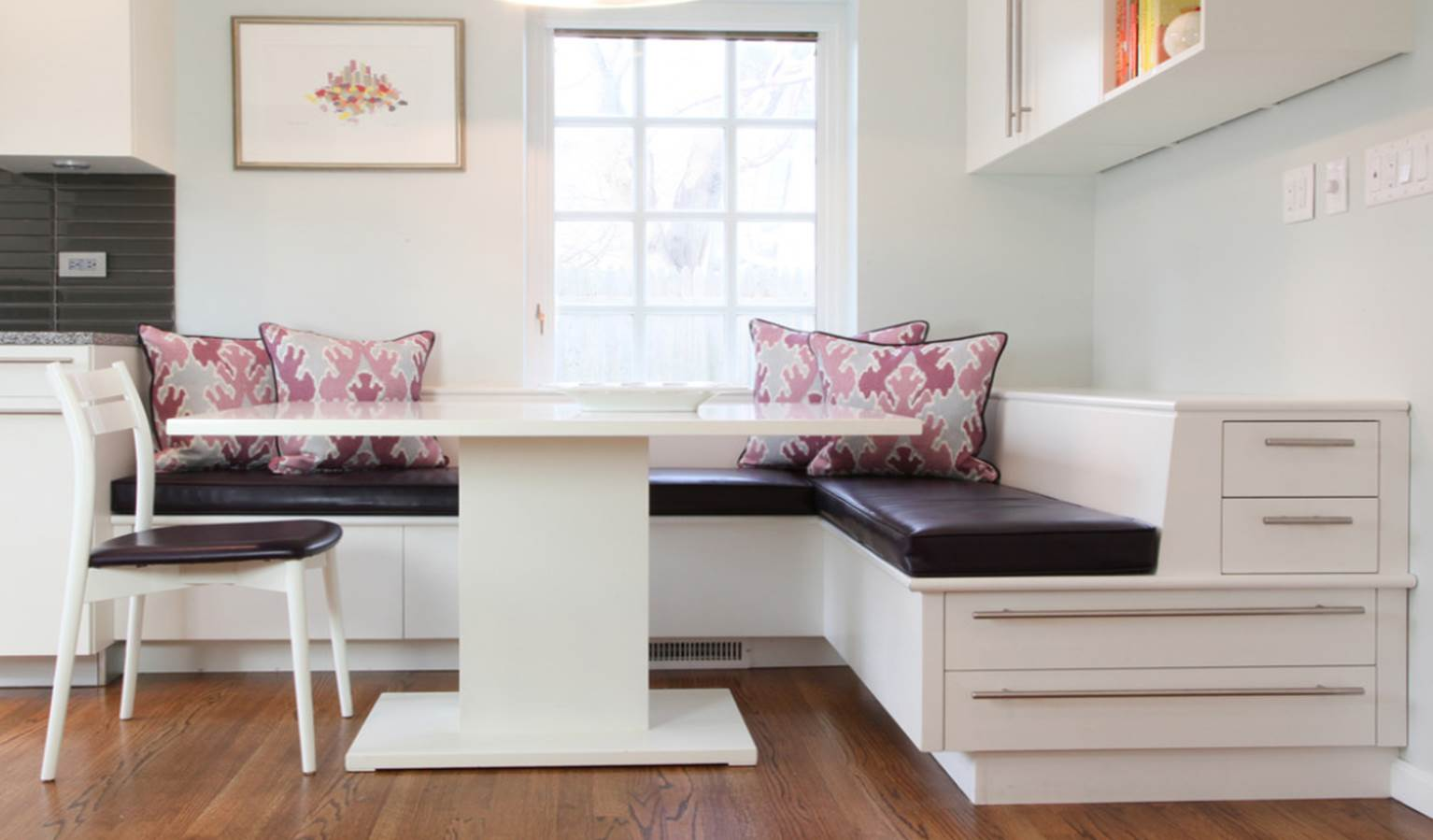 Kitchens and baths banquette built in corinne gail for Built in kitchen seating ideas