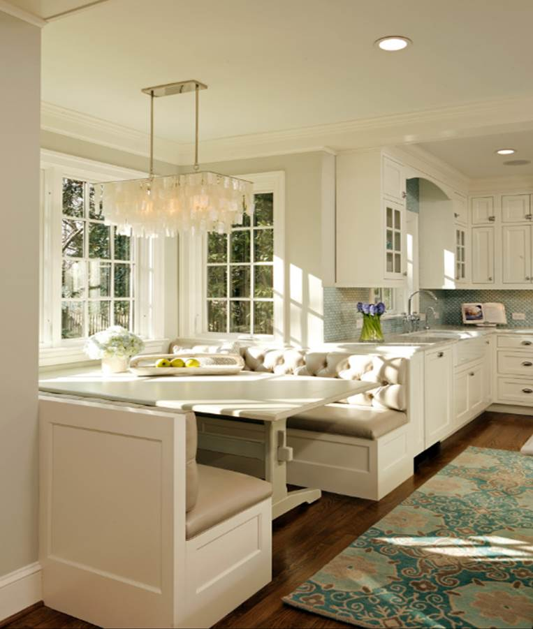 Kitchen With Bay Window Layout: Banquette Built-In « Corinne Gail
