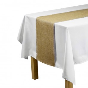 Burlap Table Runner with Fringe Edge