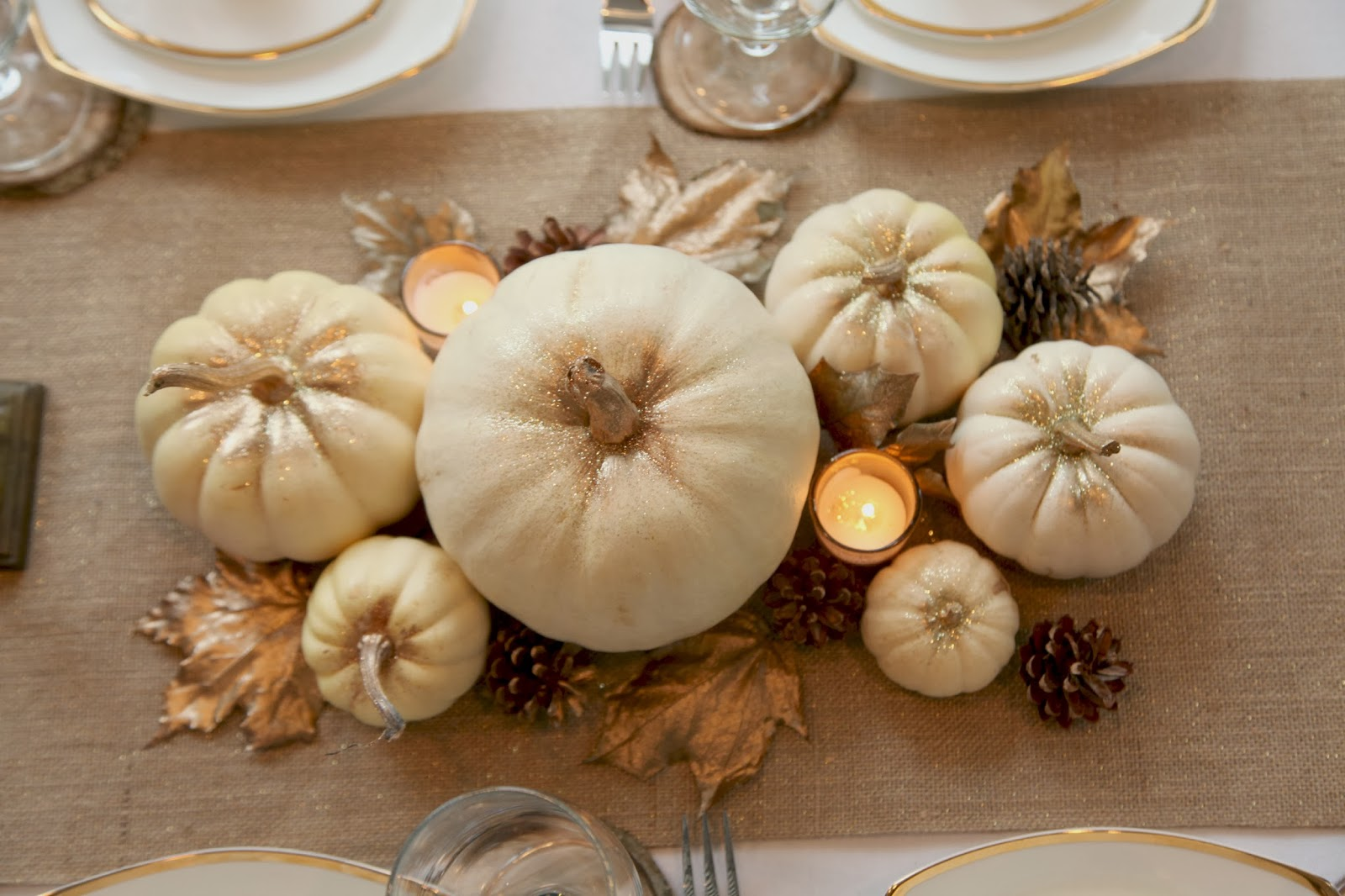 Design inspirations design a thanksgiving table with for White pumpkin table decorations