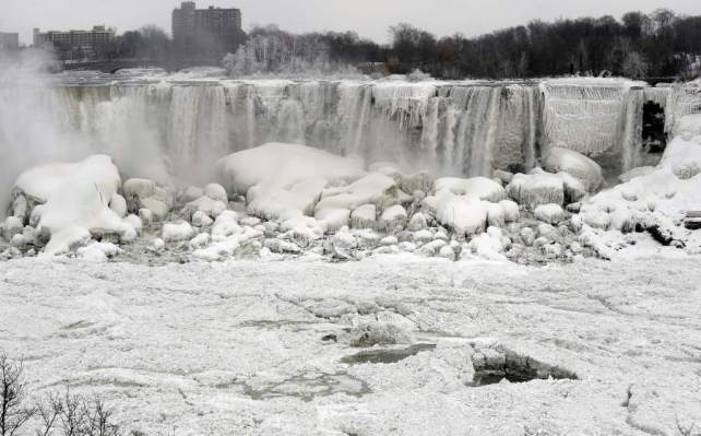2014 Polar Vortex Reuters: The American Falls shown from Niagara Falls